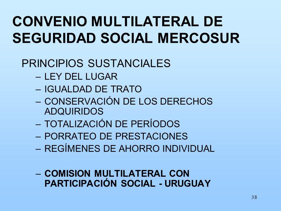 38 CONVENIO MULTILATERAL DE SEGURIDAD SOCIAL MERCOSUR PRINCIPIOS SUSTANCIALES –LEY DEL LUGAR –IGUALDAD DE TRATO –CONSERVACIÓN DE LOS DERECHOS ADQUIRID