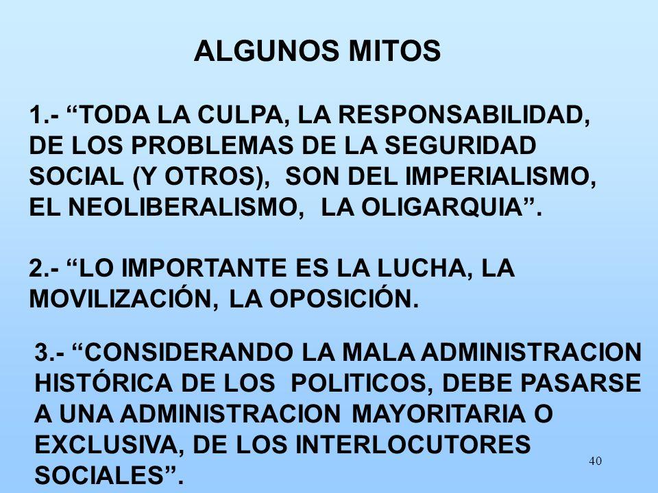 40 1.- TODA LA CULPA, LA RESPONSABILIDAD, DE LOS PROBLEMAS DE LA SEGURIDAD SOCIAL (Y OTROS), SON DEL IMPERIALISMO, EL NEOLIBERALISMO, LA OLIGARQUIA. 2