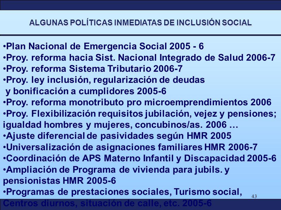 43 ALGUNAS POLÍTICAS INMEDIATAS DE INCLUSIÓN SOCIAL Plan Nacional de Emergencia Social 2005 - 6 Proy. reforma hacia Sist. Nacional Integrado de Salud