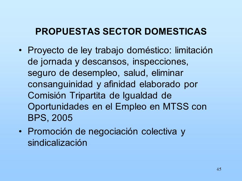 45 PROPUESTAS SECTOR DOMESTICAS Proyecto de ley trabajo doméstico: limitación de jornada y descansos, inspecciones, seguro de desempleo, salud, elimin