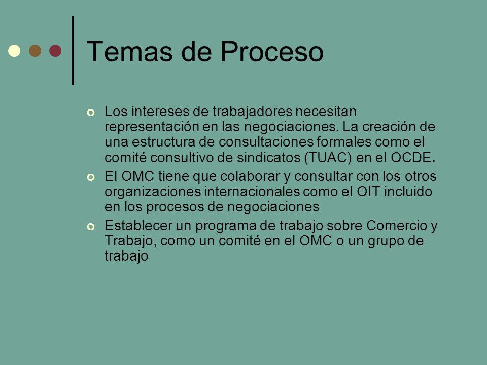 Temas de Proceso Los intereses de trabajadores necesitan representación en las negociaciones.