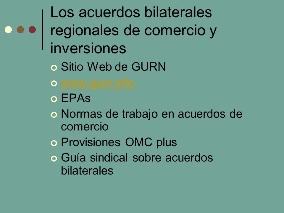 Los acuerdos bilaterales regionales de comercio y inversiones Sitio Web de GURN www.gurn.info EPAs Normas de trabajo en acuerdos de comercio Provisiones OMC plus Guía sindical sobre acuerdos bilaterales