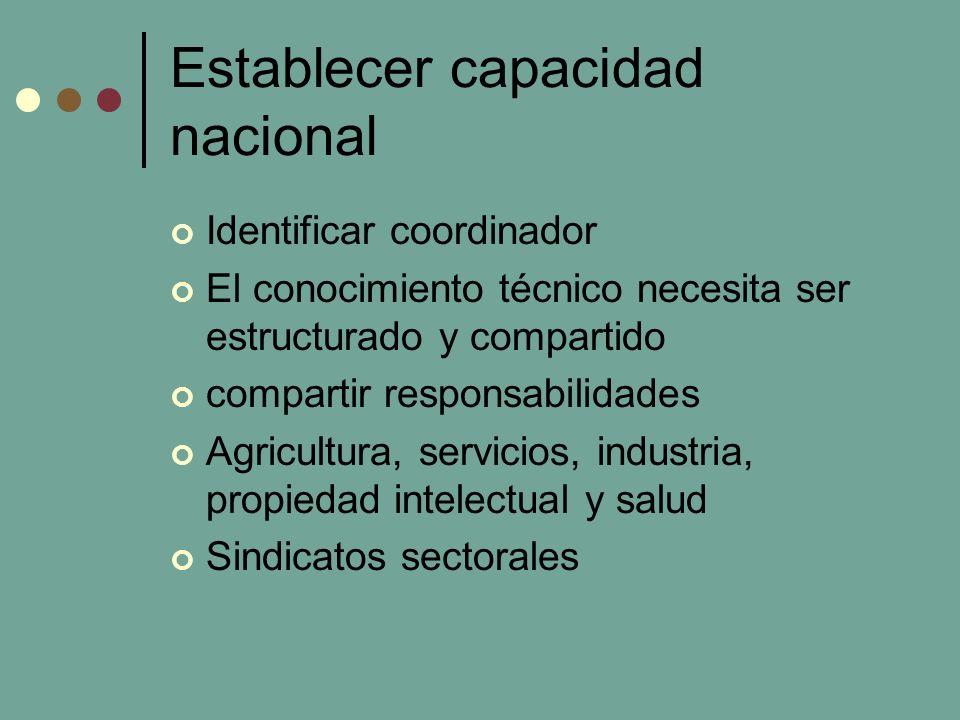 Establecer capacidad nacional Identificar coordinador El conocimiento técnico necesita ser estructurado y compartido compartir responsabilidades Agricultura, servicios, industria, propiedad intelectual y salud Sindicatos sectorales