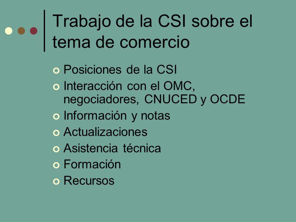 Trabajo de la CSI sobre el tema de comercio Posiciones de la CSI Interacción con el OMC, negociadores, CNUCED y OCDE Información y notas Actualizaciones Asistencia técnica Formación Recursos