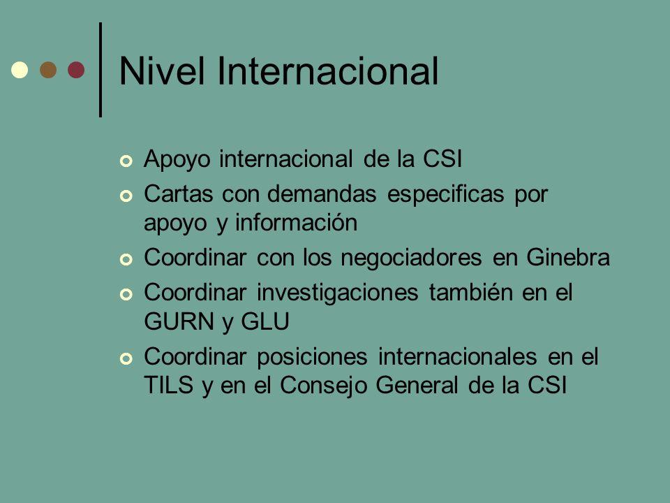 Nivel Internacional Apoyo internacional de la CSI Cartas con demandas especificas por apoyo y información Coordinar con los negociadores en Ginebra Coordinar investigaciones también en el GURN y GLU Coordinar posiciones internacionales en el TILS y en el Consejo General de la CSI
