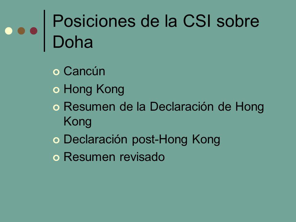 Posiciones de la CSI sobre Doha Cancún Hong Kong Resumen de la Declaración de Hong Kong Declaración post-Hong Kong Resumen revisado