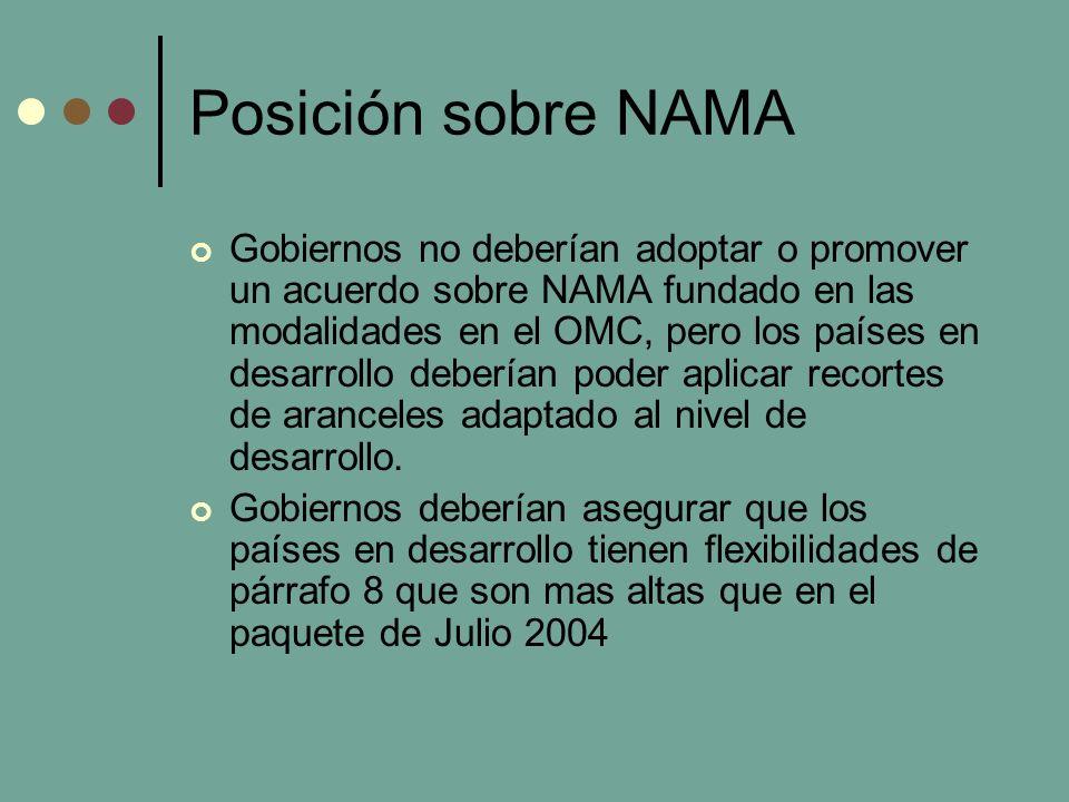 Posición sobre NAMA No vinculo entre Agricultura y NAMA Las negociaciones sectorales deberían estar non mandataria.