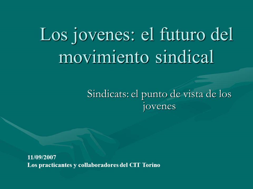 Los jovenes: el futuro del movimiento sindical Sindicats: el punto de vista de los jovenes 11/09/2007 Los practicantes y collaboradores del CIT Torino