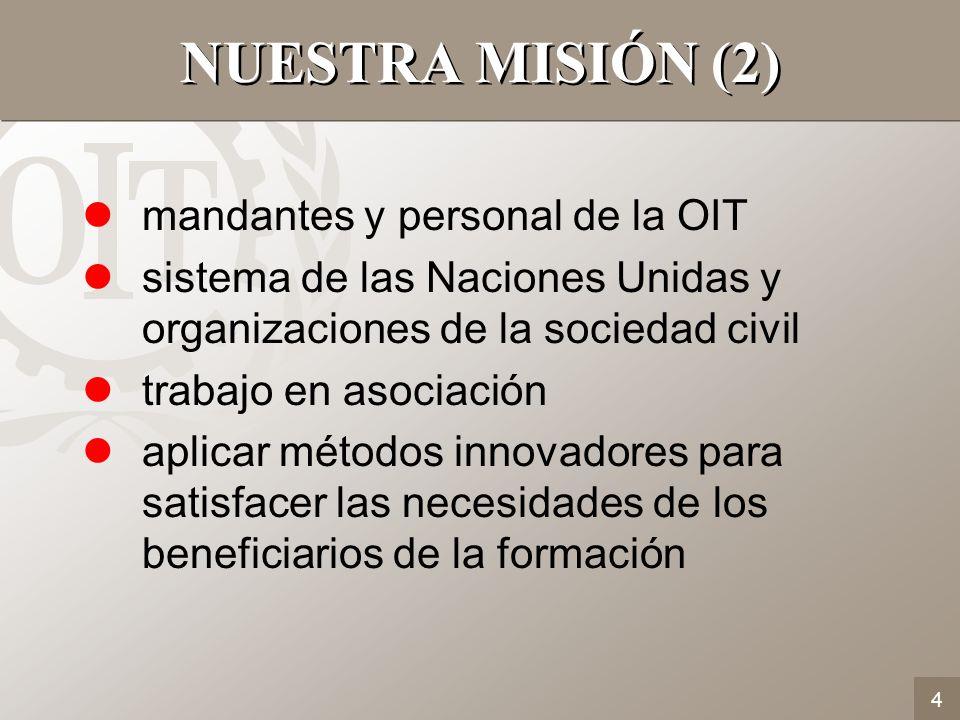 4 lmandantes y personal de la OIT lsistema de las Naciones Unidas y organizaciones de la sociedad civil ltrabajo en asociación laplicar métodos innova