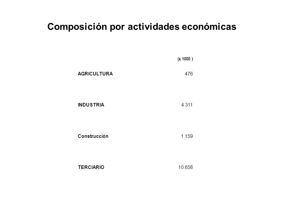 Composición por tiempo de trabajo Actividades económicas Ausenteshasta a 10 horas 11 – 30 horas31 horas y másValor non disponibile TOTAL Total 40 horas TOTAL17,6 %2,1 %13,2 %64,6 %31,0 %2,5 %100 % agricultura6,4 %2,3 %12,8 %73,0 %24,2 %5,6 %100 % Industria20,3 %0,8 %6,5 %71,2 %49,1%1,2 %100 % construcción13,8 %1,1 %6,7%74,9 %48,9 %3,4 %100 % servizi18 %2,6 %16,4 %60,4 %22,8 %2,6 %100 %