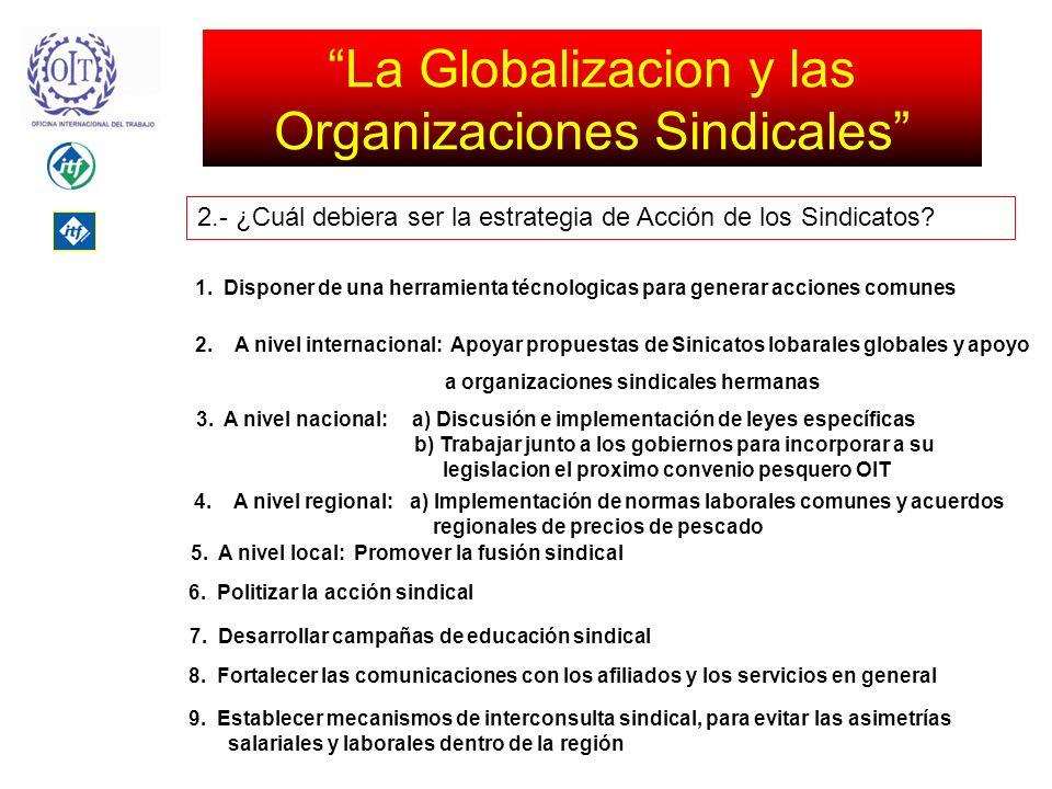 La Globalizacion y las Organizaciones Sindicales 2.- ¿Cuál debiera ser la estrategia de Acción de los Sindicatos.