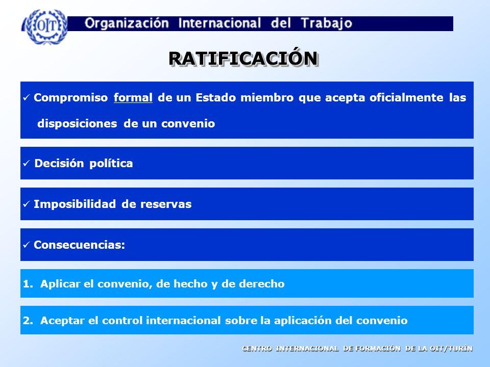CENTRO INTERNACIONAL DE FORMACIÓN DE LA OIT/TURÍN Sumisión de las normas a las autoridades nacionales competentes Los Estados miembros tienen la oblig