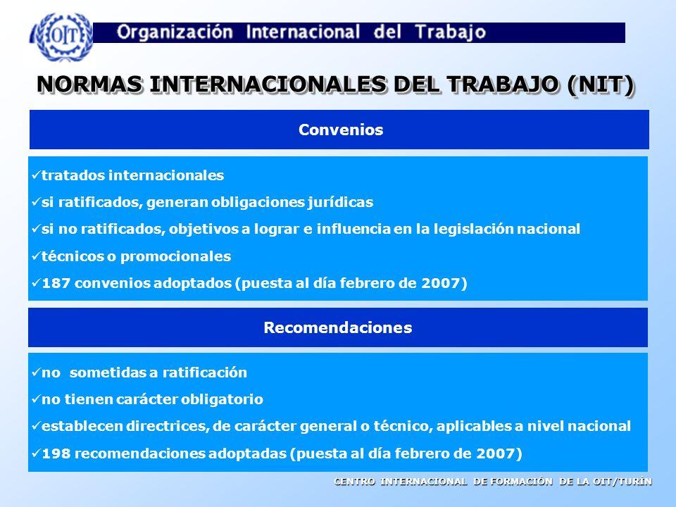 CENTRO INTERNACIONAL DE FORMACIÓN DE LA OIT/TURÍN NORMAS INTERNACIONALES DEL TRABAJO (NIT) tratados internacionales si ratificados, generan obligaciones jurídicas si no ratificados, objetivos a lograr e influencia en la legislación nacional técnicos o promocionales 187 convenios adoptados (puesta al día febrero de 2007) Convenios Recomendaciones no sometidas a ratificación no tienen carácter obligatorio establecen directrices, de carácter general o técnico, aplicables a nivel nacional 198 recomendaciones adoptadas (puesta al día febrero de 2007)