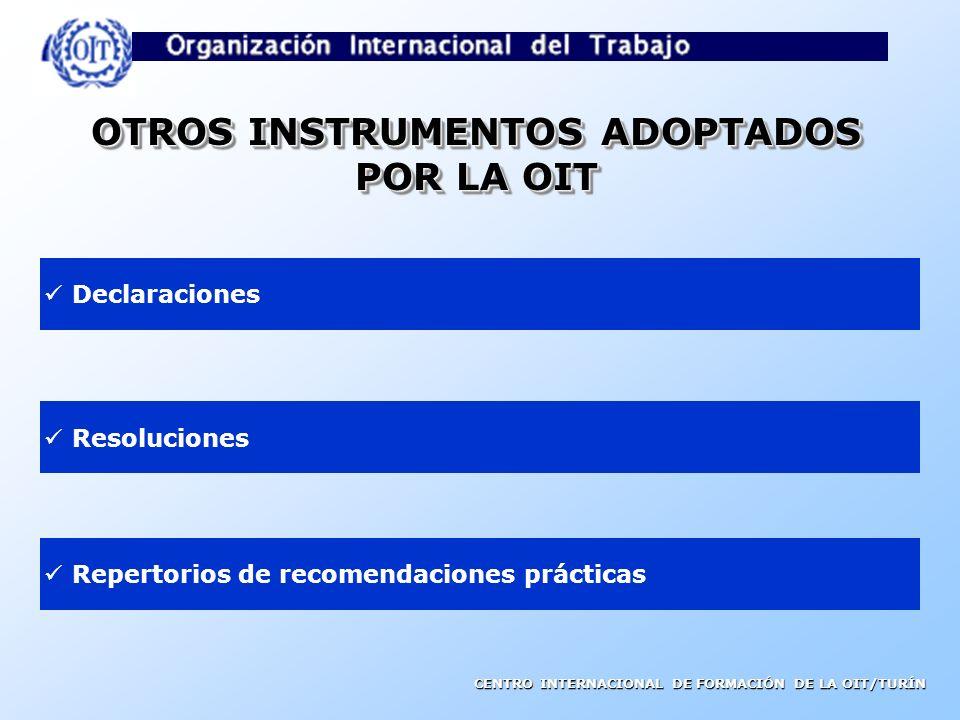 CENTRO INTERNACIONAL DE FORMACIÓN DE LA OIT/TURÍN NORMAS INTERNACIONALES DEL TRABAJO (NIT) tratados internacionales si ratificados, generan obligacion
