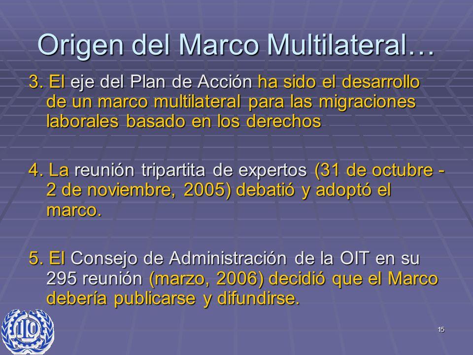 15 Origen del Marco Multilateral… 3. El eje del Plan de Acción ha sido el desarrollo de un marco multilateral para las migraciones laborales basado en