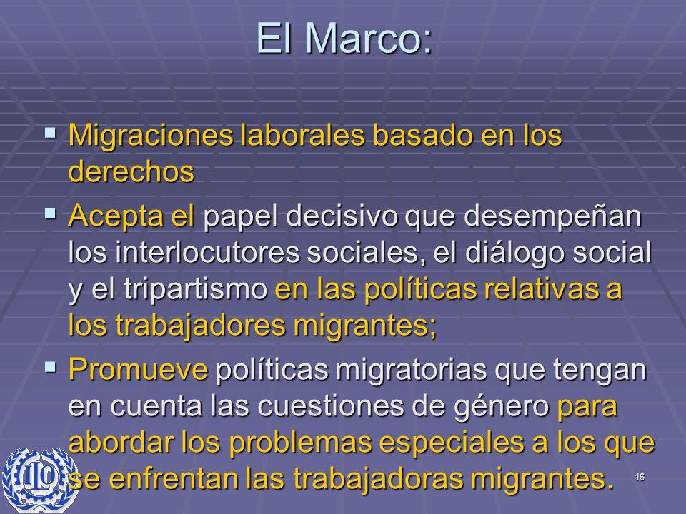 16 El Marco: Migraciones laborales basado en los derechos Migraciones laborales basado en los derechos Acepta el papel decisivo que desempeñan los int