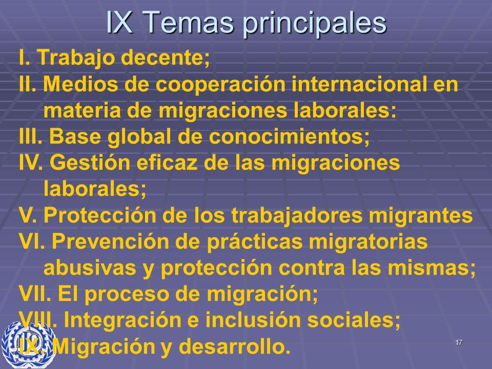 17 IX Temas principales I. Trabajo decente; II. Medios de cooperación internacional en materia de migraciones laborales: III. Base global de conocimie