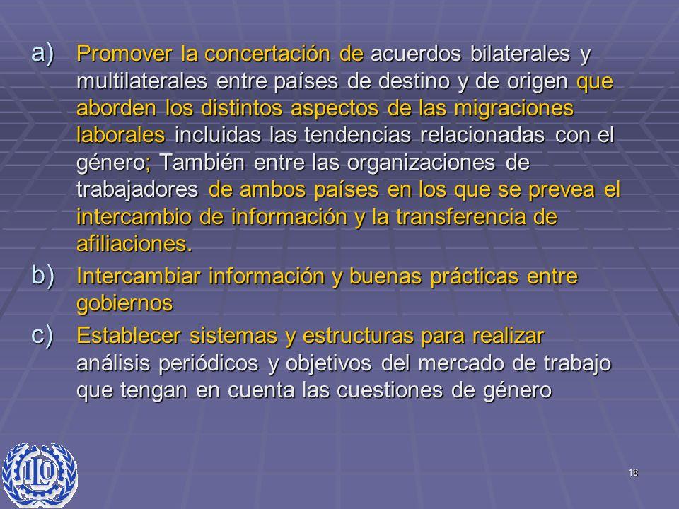 18 a) Promover la concertación de acuerdos bilaterales y multilaterales entre países de destino y de origen que aborden los distintos aspectos de las
