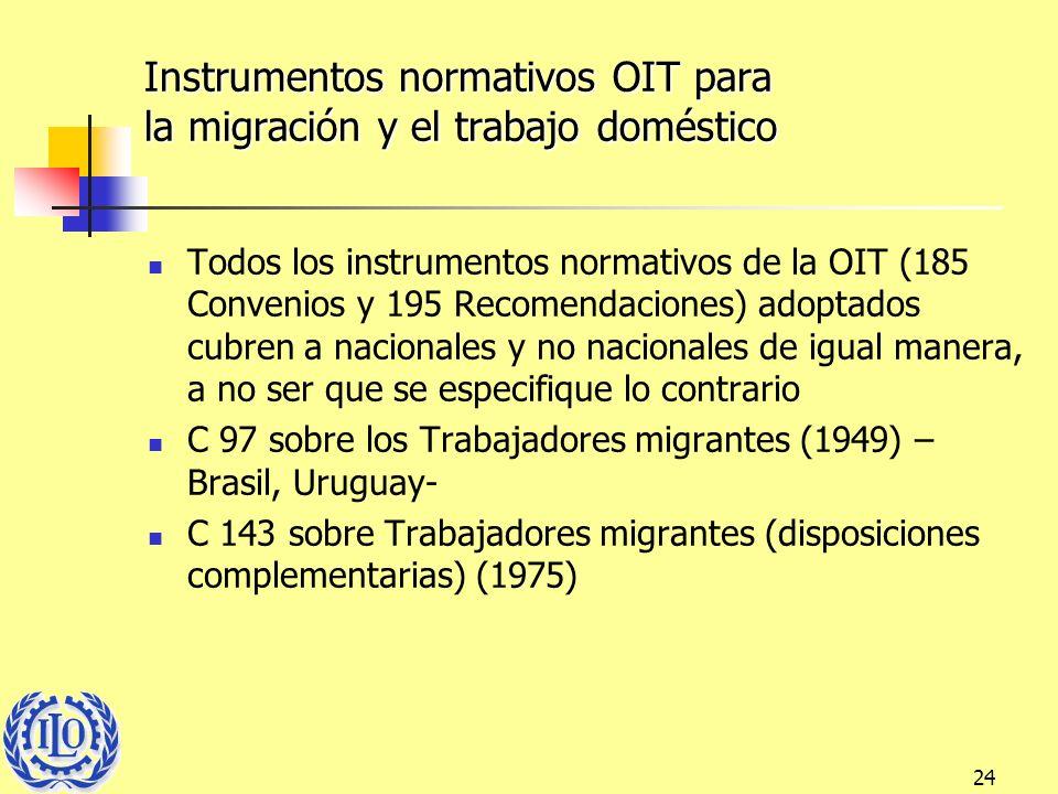 24 Instrumentos normativos OIT para la migración y el trabajo doméstico Todos los instrumentos normativos de la OIT (185 Convenios y 195 Recomendacion