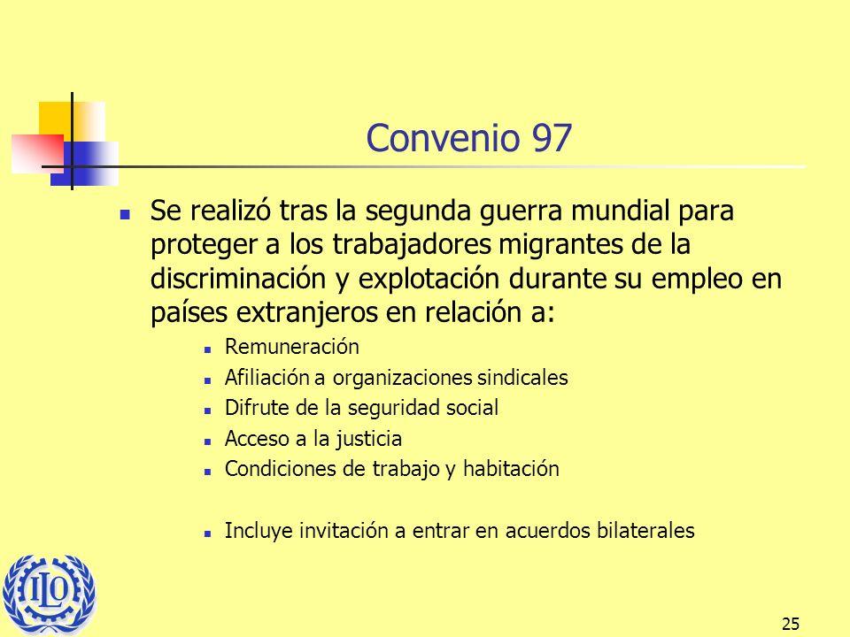25 Convenio 97 Se realizó tras la segunda guerra mundial para proteger a los trabajadores migrantes de la discriminación y explotación durante su empl