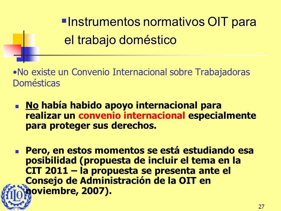 27 No existe un Convenio Internacional sobre Trabajadoras Domésticas No había habido apoyo internacional para realizar un convenio internacional espec