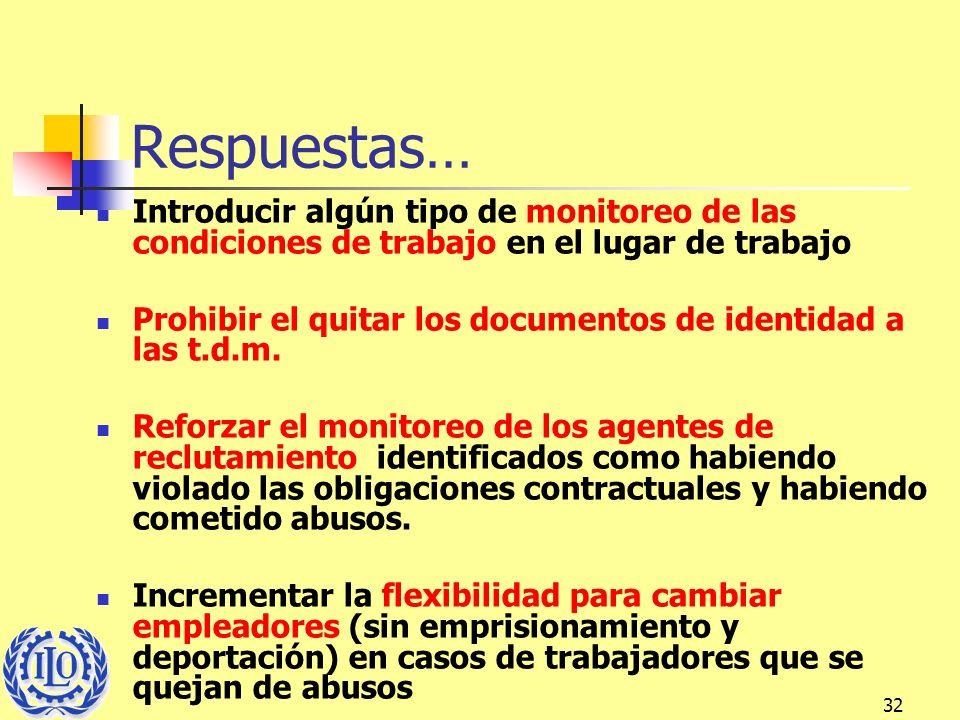 32 Respuestas… Introducir algún tipo de monitoreo de las condiciones de trabajo en el lugar de trabajo Prohibir el quitar los documentos de identidad