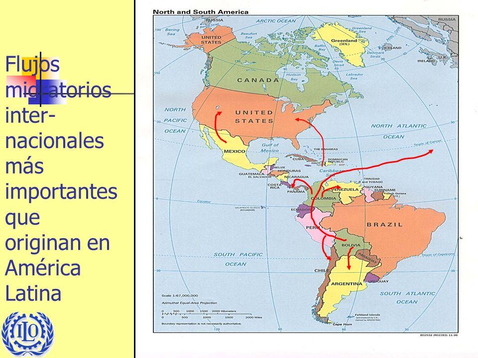 5 Flujos migratorios inter- nacionales más importantes que originan en América Latina