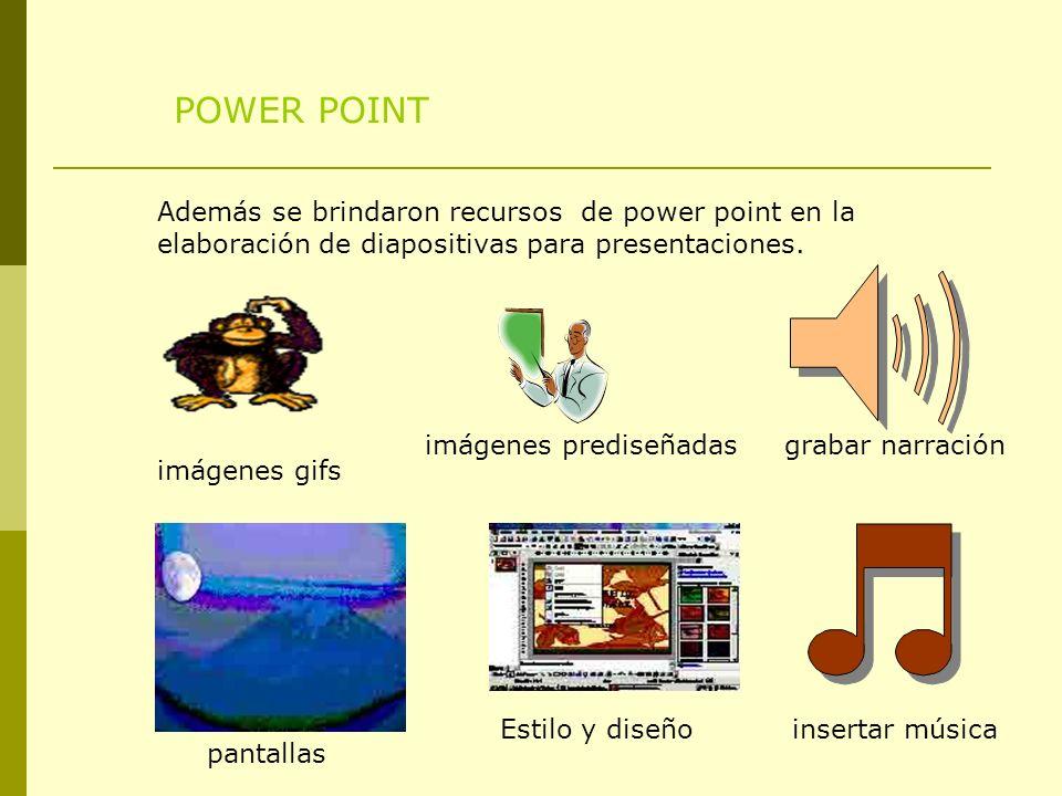 POWER POINT Además se brindaron recursos de power point en la elaboración de diapositivas para presentaciones. imágenes gifs imágenes prediseñadas pan