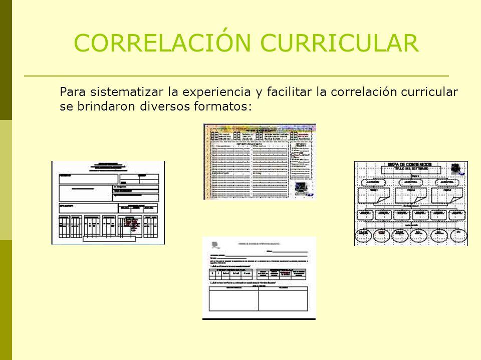 CORRELACIÓN CURRICULAR Para sistematizar la experiencia y facilitar la correlación curricular se brindaron diversos formatos: