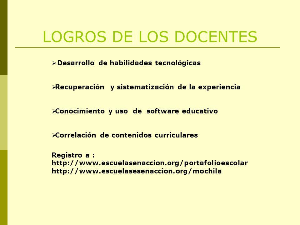 LOGROS DE LOS DOCENTES Desarrollo de habilidades tecnológicas Recuperación y sistematización de la experiencia Conocimiento y uso de software educativ