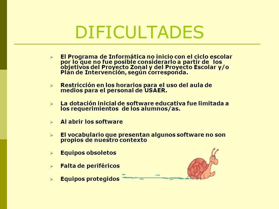 DIFICULTADES El Programa de Informática no inicio con el ciclo escolar por lo que no fue posible considerarlo a partir de los objetivos del Proyecto Zonal y del Proyecto Escolar y/o Plan de Intervención, según corresponda.