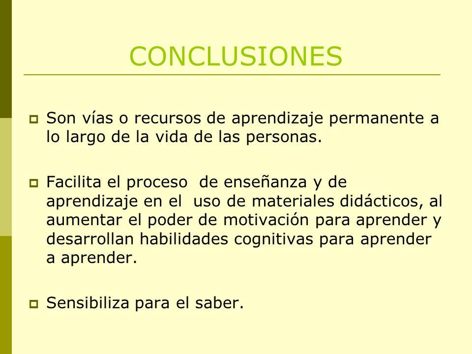 CONCLUSIONES Son vías o recursos de aprendizaje permanente a lo largo de la vida de las personas. Facilita el proceso de enseñanza y de aprendizaje en