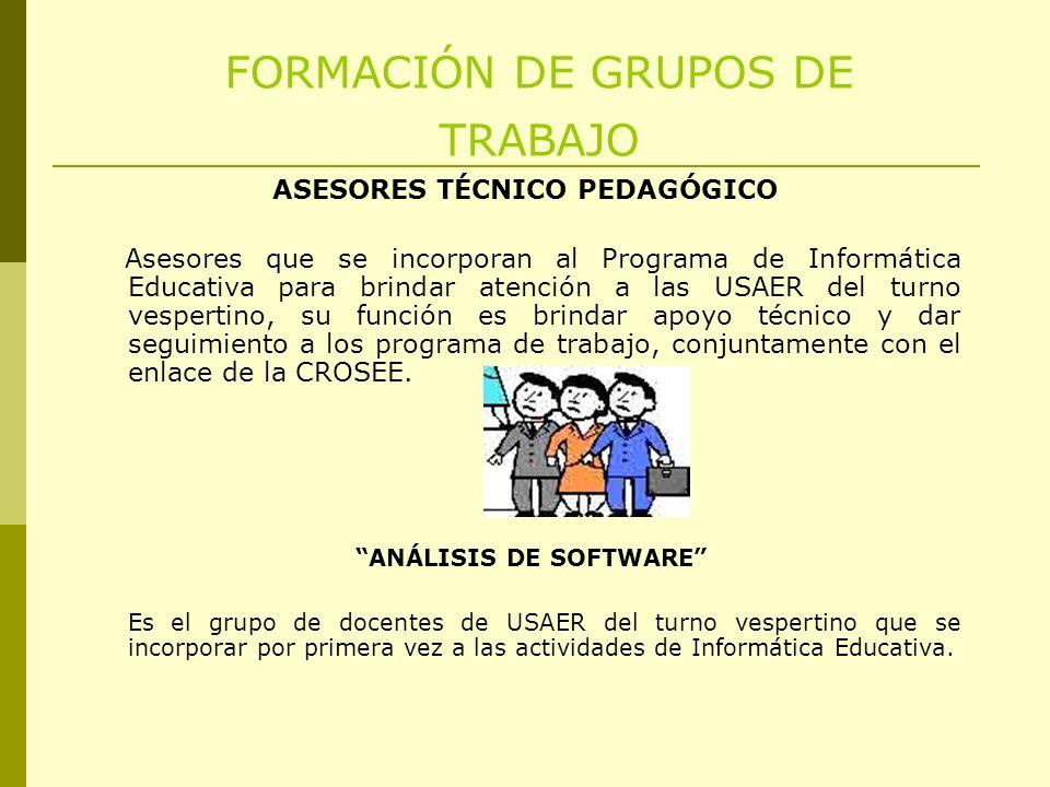 FORMACIÓN DE GRUPOS DE TRABAJO ANÁLISIS DE SOFTWARE Es el grupo de docentes de USAER del turno vespertino que se incorporar por primera vez a las actividades de Informática Educativa.
