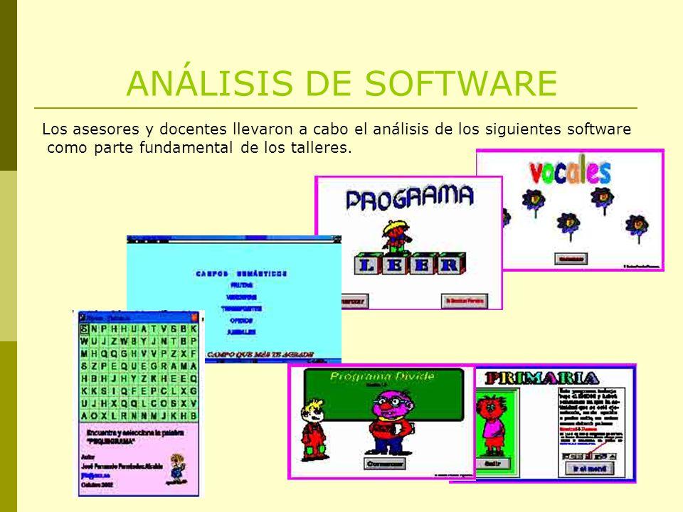 ANÁLISIS DE SOFTWARE Los asesores y docentes llevaron a cabo el análisis de los siguientes software como parte fundamental de los talleres.