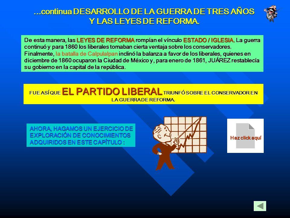 ...continua DESARROLLO DE LA GUERRA DE TRES AÑOS Y LAS LEYES DE REFORMA. Tanto el TRATADO MC LANE – OCAMPO, que permitiría a E.U.A. el paso libre por