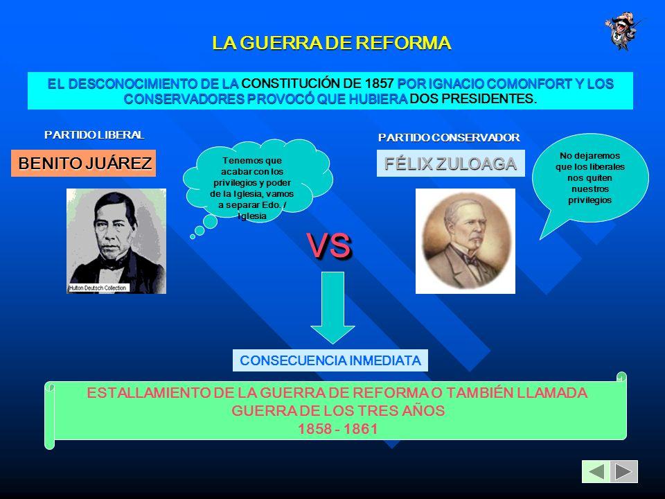 LA GUERRA DE REFORMA EL DESCONOCIMIENTO DE LA POR IGNACIO COMONFORT Y LOS CONSERVADORES PROVOCÓ QUE HUBIERA EL DESCONOCIMIENTO DE LA CONSTITUCIÓN DE 1857 POR IGNACIO COMONFORT Y LOS CONSERVADORES PROVOCÓ QUE HUBIERA DOS PRESIDENTES.