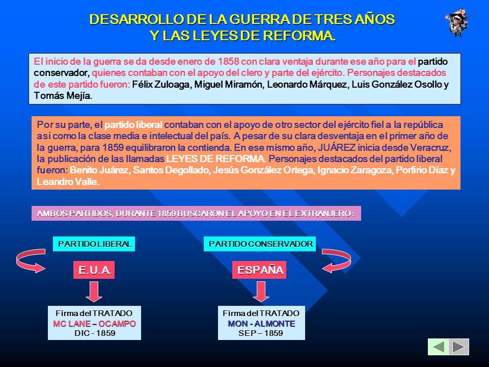 DESARROLLO DE LA GUERRA DE TRES AÑOS Y LAS LEYES DE REFORMA.