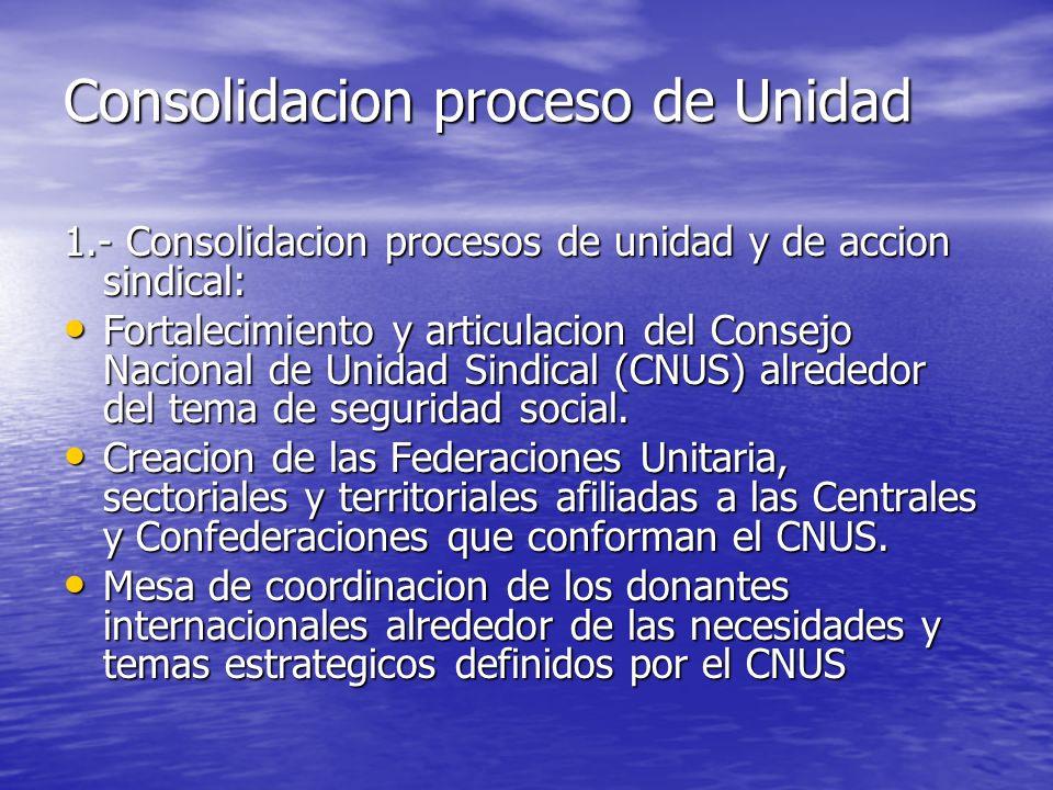 Promocion de alianzas Consolidacion interna con las estructuras afiliadas (federaciones y sindicatos nacionales) a las cuatrso centrales y Confederaciones que conforman el CNUS (CNTD, CASC, CGT, y CTU).
