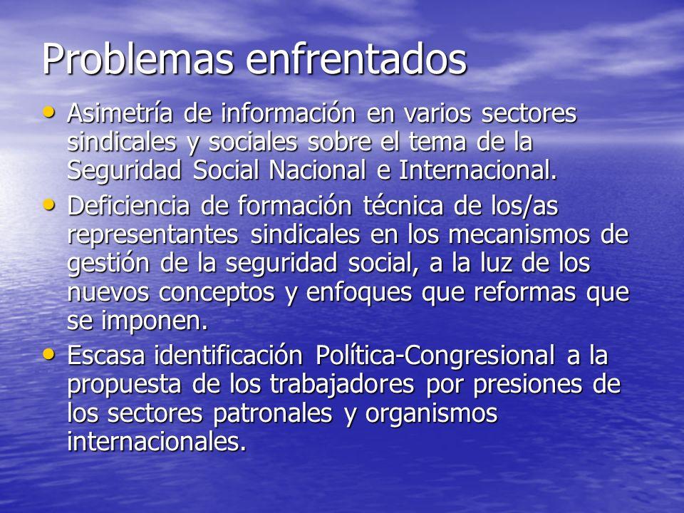Problemas enfrentados Asimetría de información en varios sectores sindicales y sociales sobre el tema de la Seguridad Social Nacional e Internacional.