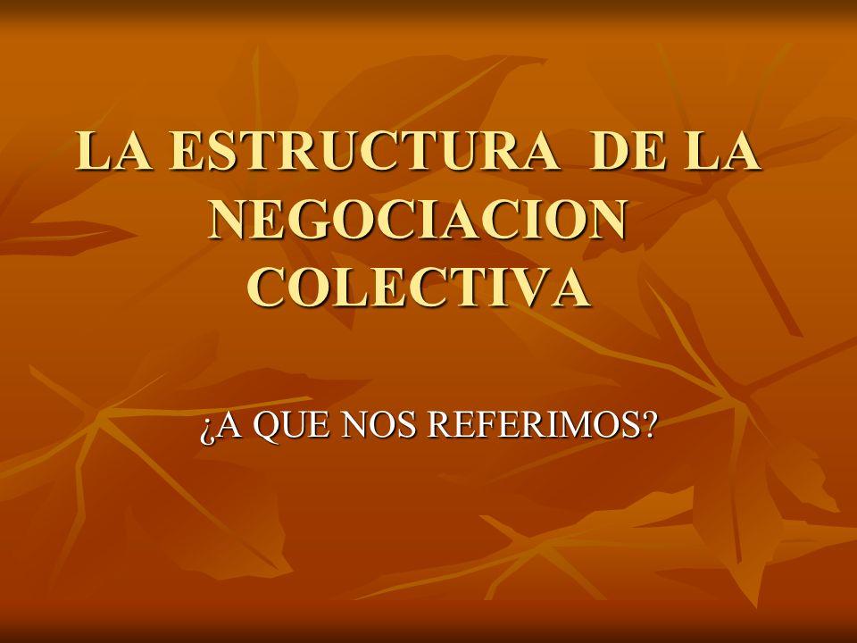 LA ESTRUCTURA DE LA NEGOCIACION COLECTIVA ¿A QUE NOS REFERIMOS?