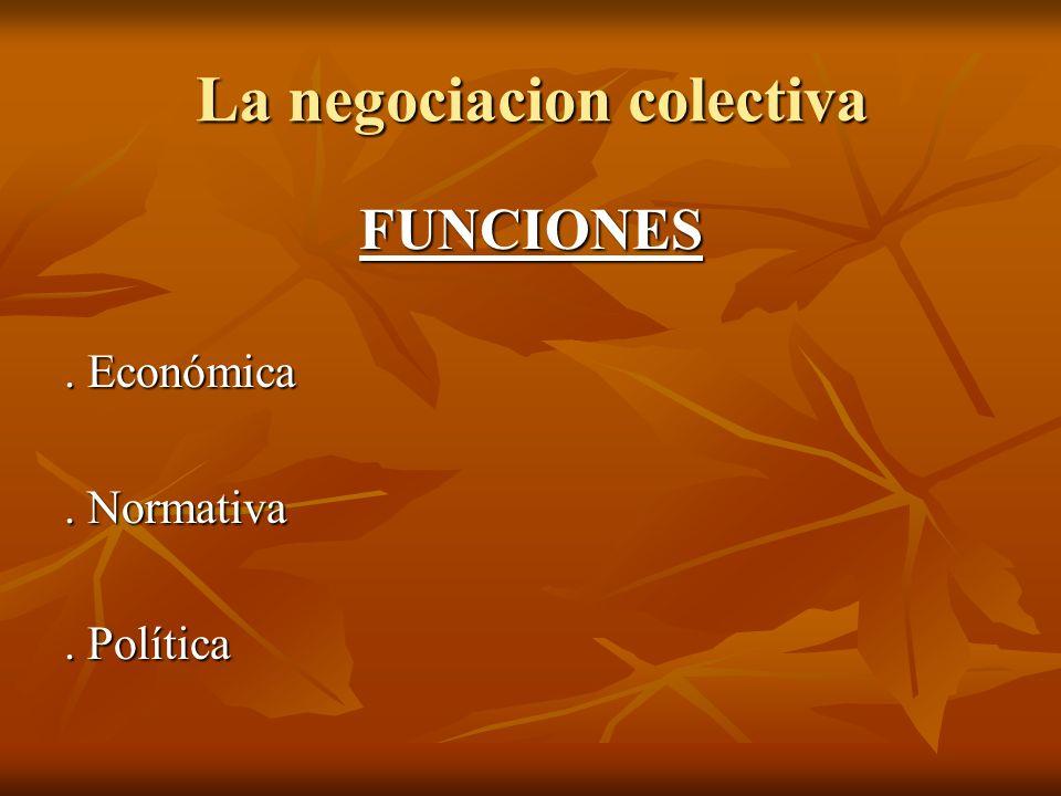 La negociacion colectiva FUNCIONES. Económica. Normativa. Política