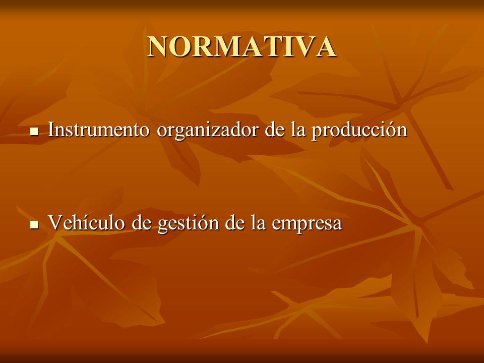 NORMATIVA Instrumento organizador de la producción Instrumento organizador de la producción Vehículo de gestión de la empresa Vehículo de gestión de l