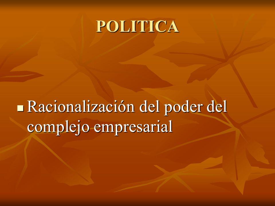 POLITICA Racionalización del poder del complejo empresarial Racionalización del poder del complejo empresarial