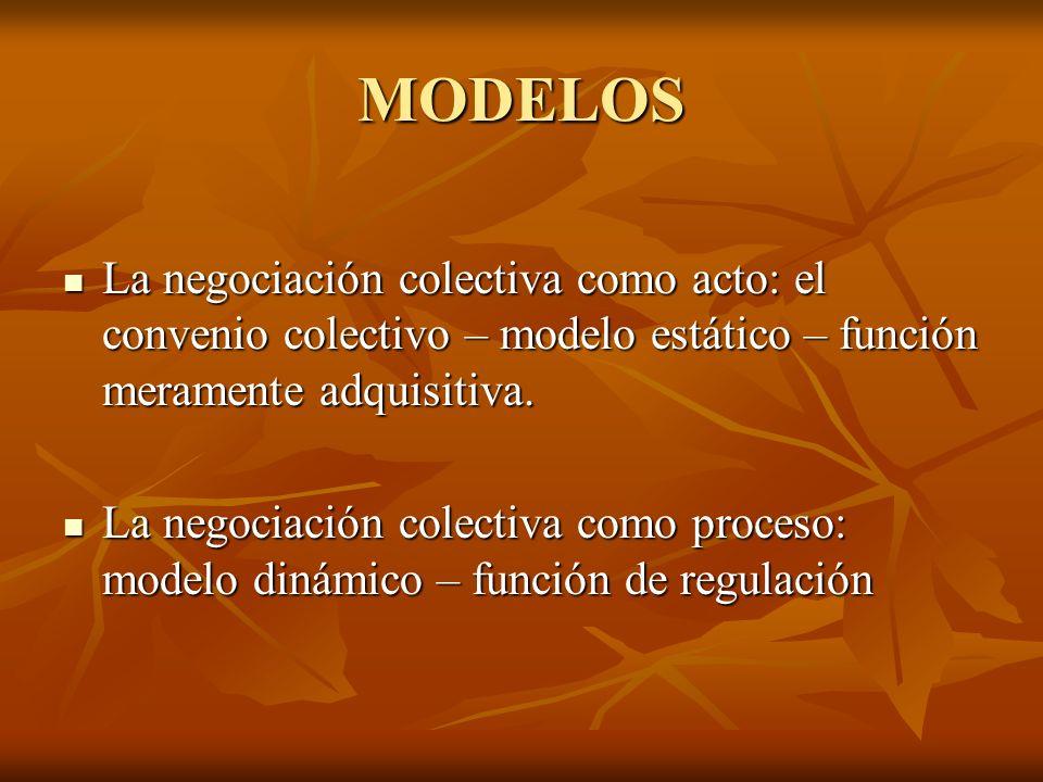MODELOS La negociación colectiva como acto: el convenio colectivo – modelo estático – función meramente adquisitiva. La negociación colectiva como act
