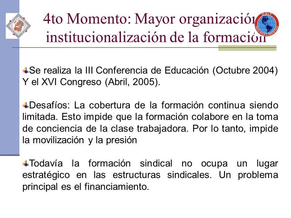 4to Momento: Mayor organización e institucionalización de la formación Se realiza la III Conferencia de Educación (Octubre 2004) Y el XVI Congreso (Ab