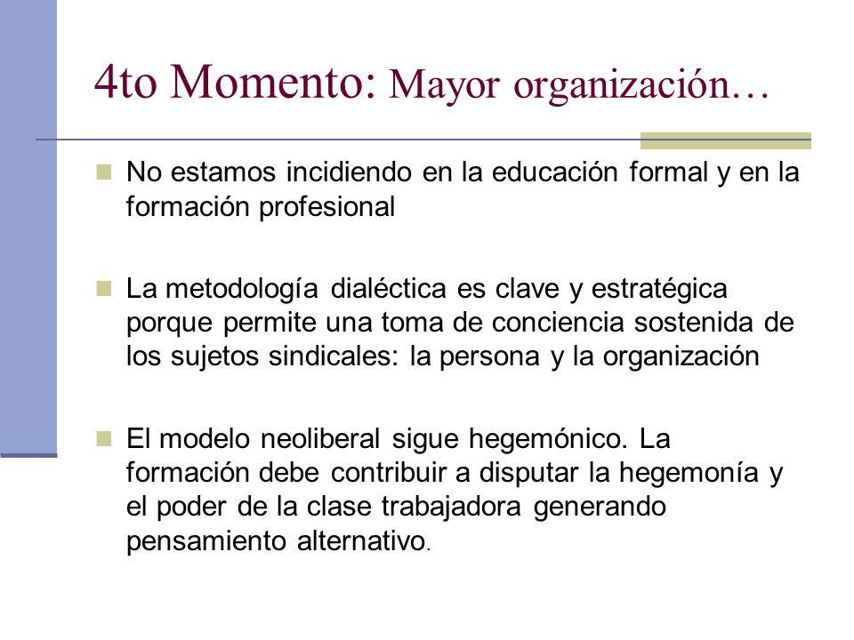 4to Momento: Mayor organización… No estamos incidiendo en la educación formal y en la formación profesional La metodología dialéctica es clave y estratégica porque permite una toma de conciencia sostenida de los sujetos sindicales: la persona y la organización El modelo neoliberal sigue hegemónico.