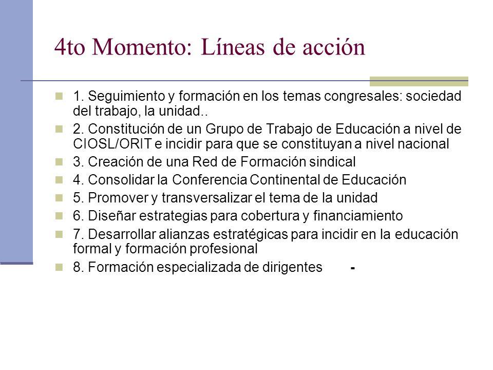 4to Momento: Líneas de acción 1. Seguimiento y formación en los temas congresales: sociedad del trabajo, la unidad.. 2. Constitución de un Grupo de Tr