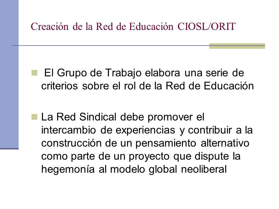 Creación de la Red de Educación CIOSL/ORIT El Grupo de Trabajo elabora una serie de criterios sobre el rol de la Red de Educación La Red Sindical debe