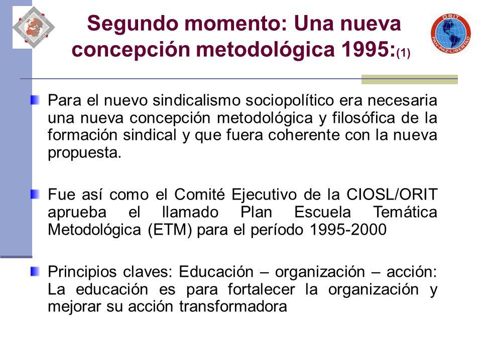 Segundo momento: Una nueva concepción metodológica 1995: (1) Para el nuevo sindicalismo sociopolítico era necesaria una nueva concepción metodológica y filosófica de la formación sindical y que fuera coherente con la nueva propuesta.