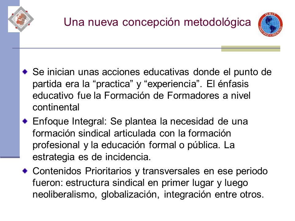 Una nueva concepción metodológica Se inician unas acciones educativas donde el punto de partida era la practica y experiencia. El énfasis educativo fu